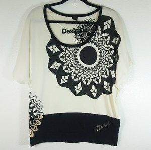 Desigual Floral Cream Black Top Size Large